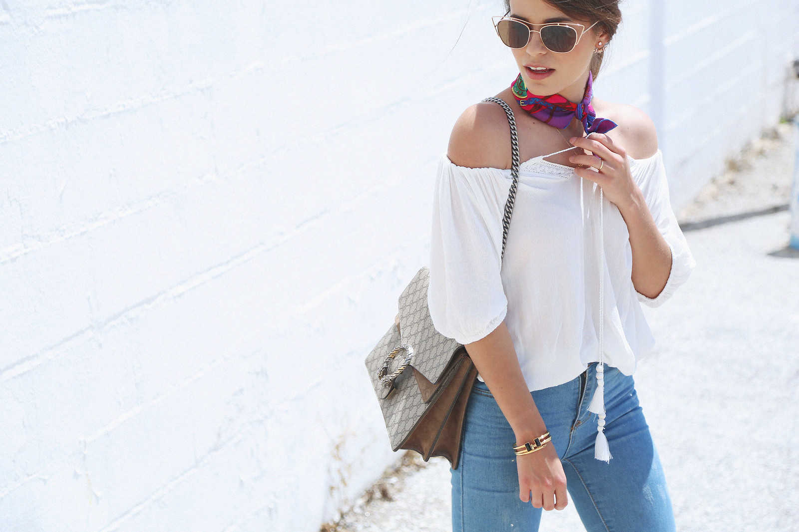 jessie chanes seams for a desire white off shoulder top high waisted jeans gucci bag uterque-3