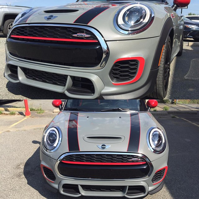 John Cooper Works decals #minicooper #minicoopers #johncooperworks #customdecals #charlotteglasstinting #gasolinegraphics
