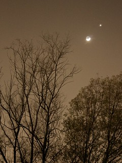 Congiunzione Luna-Venere in sepia