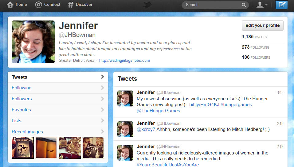 Twitter Page Screenshot