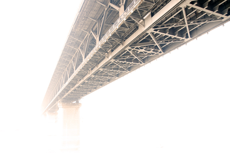 Sepia toned image of the Wuhan Yangtze First Bridge.