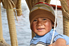 Taken at Lake Titicaca, this boy is a member of the Uros Island inhabitants who went on a Totoro Boat ride with us