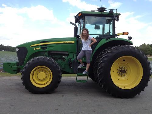 Cheri on John Deere Tractor at Wish Farms