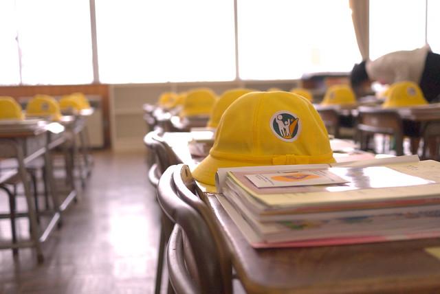 入学式 新しい帽子と教科書