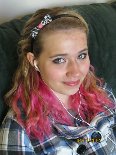 4/11/12: Becca with pink hair.  yes. really.