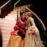 The calculating Marquise de Merteuil (Tasha Lawrence) receives upsetting news from Madame de Volanges (Ann Talman) in the Huntington Theatre Company's production of