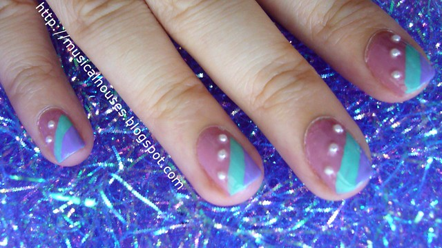 spring nail art stripes pearls 2