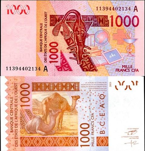 1000 Frankov Pobrežie Slonoviny 2003 (2011), Pick 115A