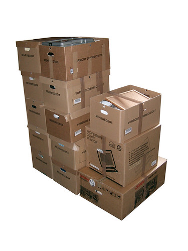 A stack of moving boxes