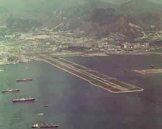 Hong Kong   -   Old Purchased Slide of a hair-raising place to fly in and out of     -    24 June 1971