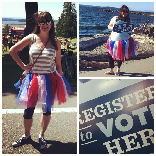 Wearing the red, white and blue while registering voters in the NW Washington