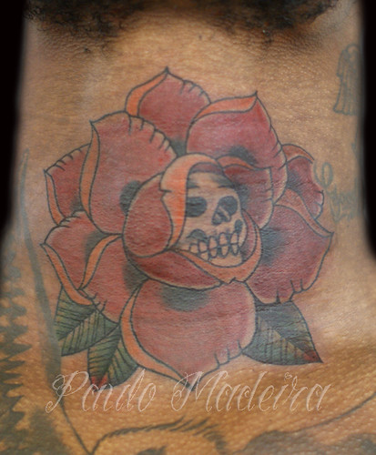 Old School Red Rose And Skull Tattoo Paulo Madeira Tattoo Flickr