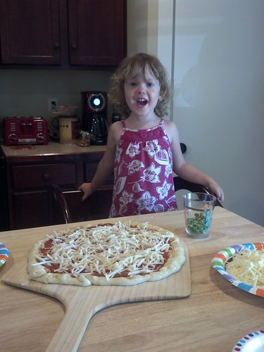 Helping to make pizzas