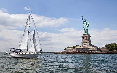 sailing pass liberty by Alida's Photos