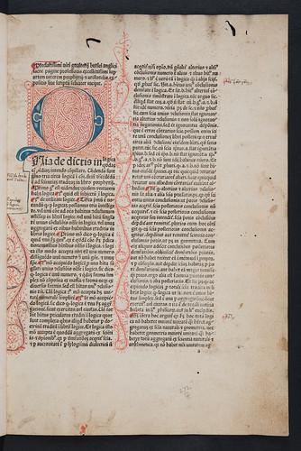 Pen-work initial in Burlaeus, Gualtherus: Expositio in artem veterem Porphyrii et Aristotelis (without text)