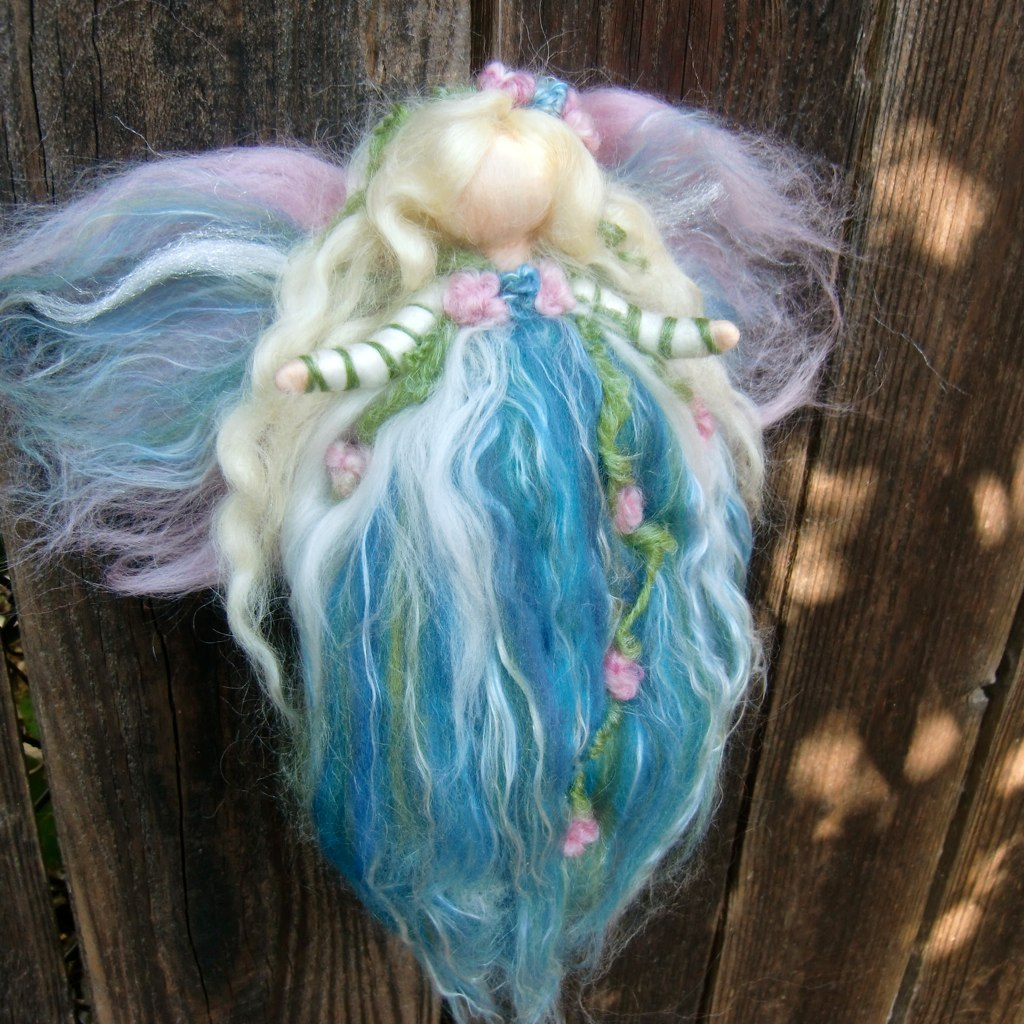 needle felted fairy angel winter garden fairy by rebecca varon