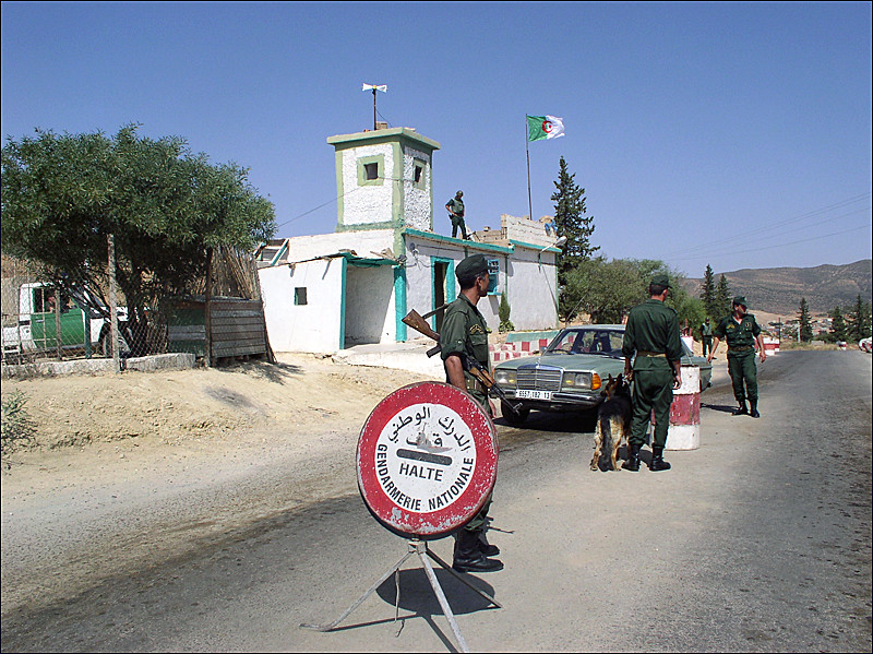 Algerian border guards at the Maghnia border crossing.