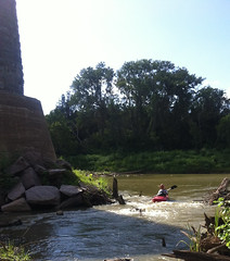 Me, in my sombrero and kayak, at Old Railroad Bridge Supports, Brazos River , Downstream from Hwy 290 1208161630I