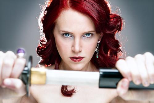 [フリー画像素材] 人物, 女性, 剣・刀, アメリカ人 ID:201208270800