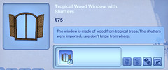 Tropical Wood Window with Shutters