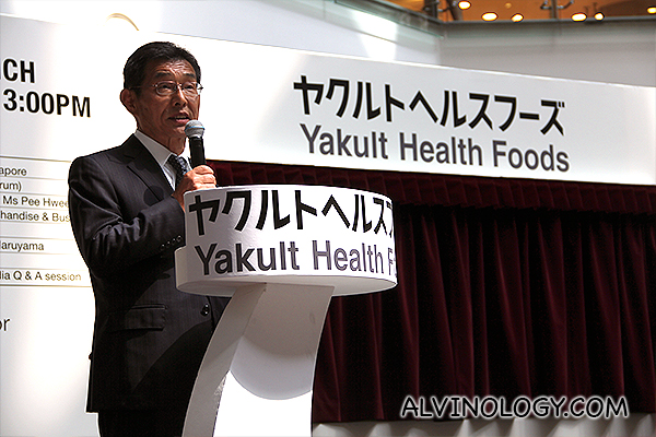Hideaki Maruyama, the President and CEO of Yakult Health Foods addressing the audience
