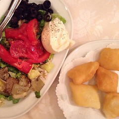 Burrata, veggies, and fried bread at L'Osteria di Giovanni. #onthetable #travelgram