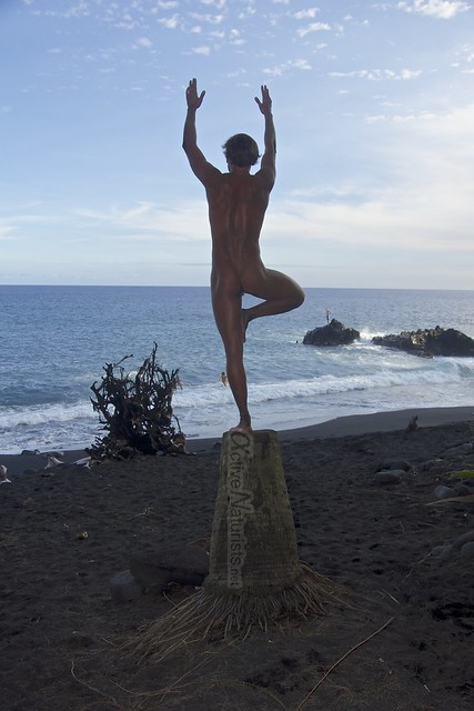 naturist yoga 0010 Kehena black sand beach, Hawaii, USA