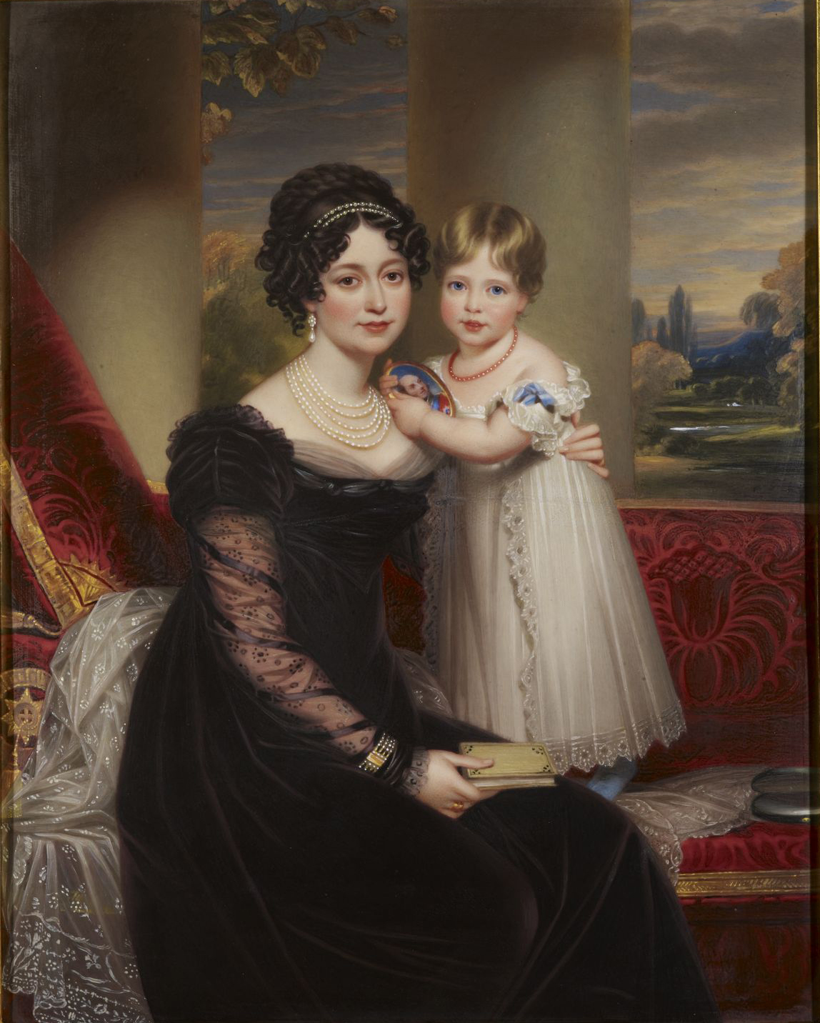 The duchess of Kent with her daughter, the future queen Victoria by Henry Bone, 1825