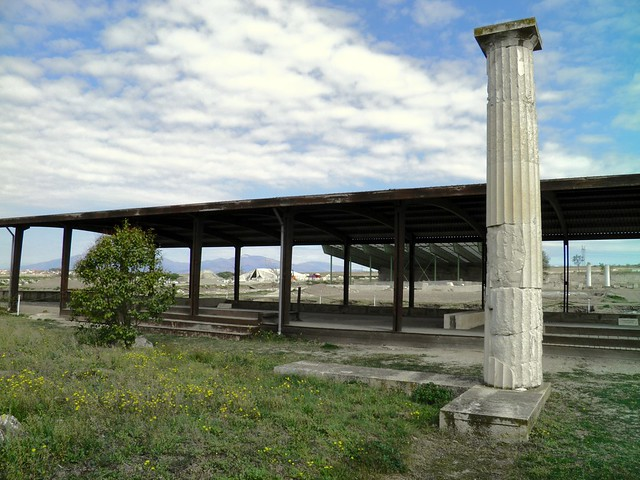 The House of the Abduction of Helen with its complete Doric column remains from the portico and colonnade, Ancient Pella