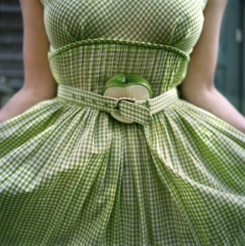 Cig Harvey, The Cut Apple & Gingham Dress, Self-Portrait (from the Series Eyes Like Disappointed Lemons), Clark's Island, Maine, 2003