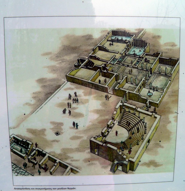Representation drawing of the great baths complex, Ancient Dion