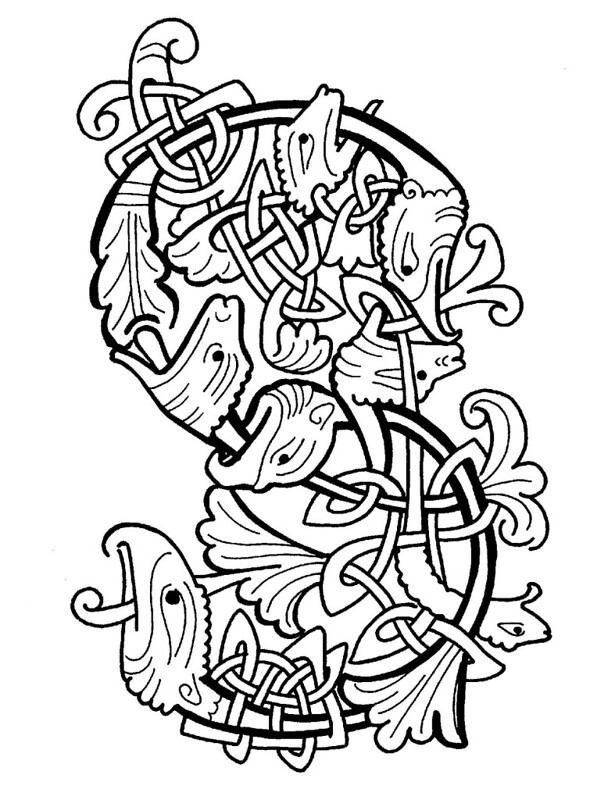 medieval calligraphic letter 'S' : ornament of stylised animals and acanthus leaves
