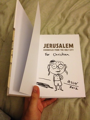 My copy of Jerusalem signed and sketched by Guy Delisle.