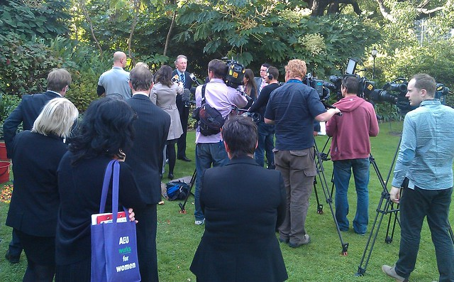 Interest groups talk to the media on Victorian State Budget Day