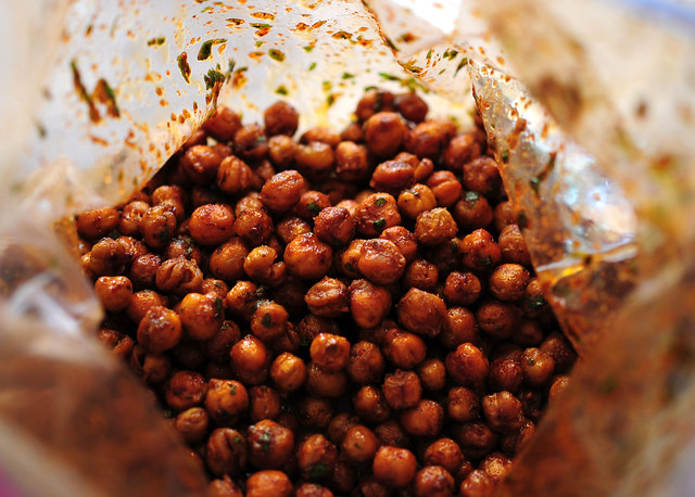 chickpeas shaken in a bag