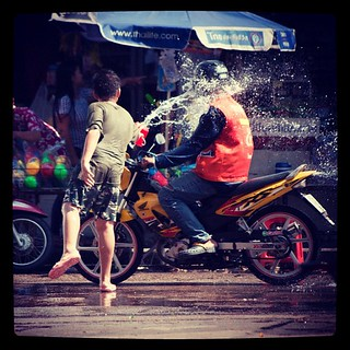 The neighbourhood kids are vicious! Can't go ten feet without getting completely drenched! Happy #Songkran indeed!