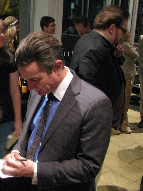 James signing autographs