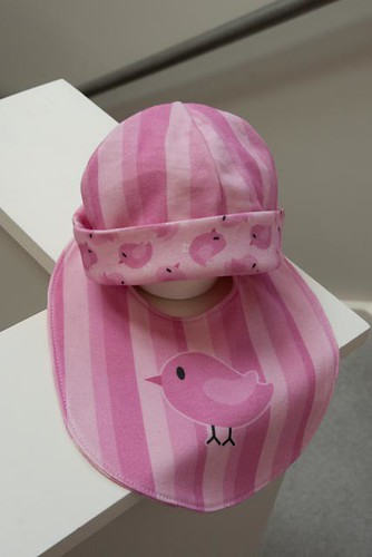 Reversible Baby Beanie and Bib - Girls