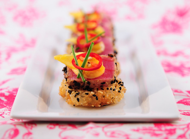 Wasabi Mustard Seared Tuna on Crispy Rice