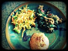 Zucchini slaw, greens & tempeh, cornbread