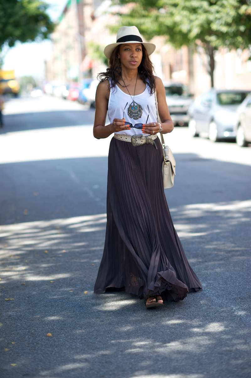 Maxi skirt and coach vintage bag