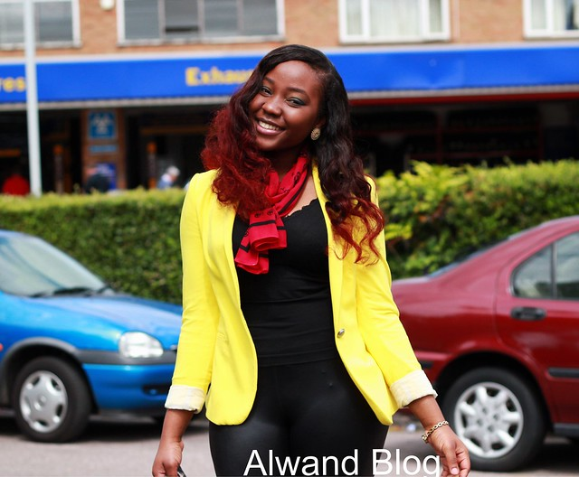 Yellow blazer & leather tights: Street Style