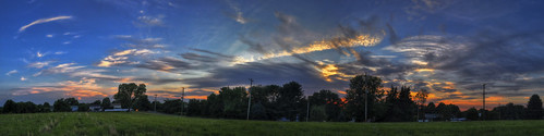 blue sunset sky panorama grass clouds landscape hdr