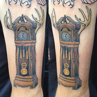 Finished Chris' antlered clock today #kaptenhannatattoos #idlehandsf