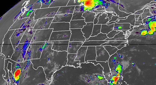 Satellite image with enhanced low cloud-top temperatures for 6:45 a.m. EST (NOAA)