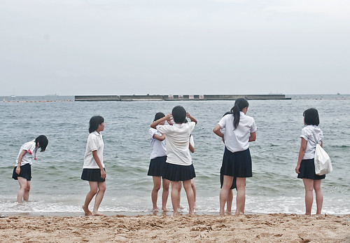 School girls at Suma Beach