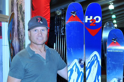 Dean Cummings with his Karen'cito' signature skis (165-133-149) made by his company H2OG; these beauties are designed to ski anywhere and in all snow conditions with ample flotation and graceful turning