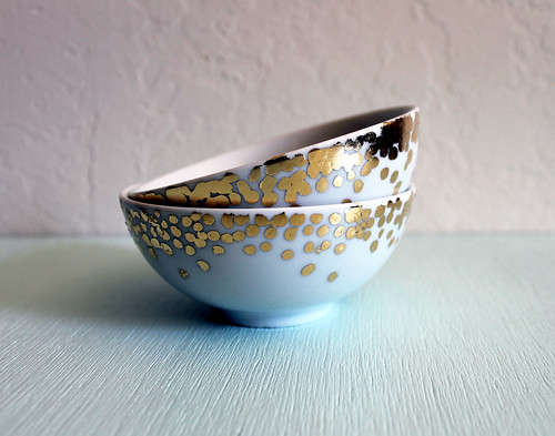 handmade gold leaf polka dot ceramic bowl