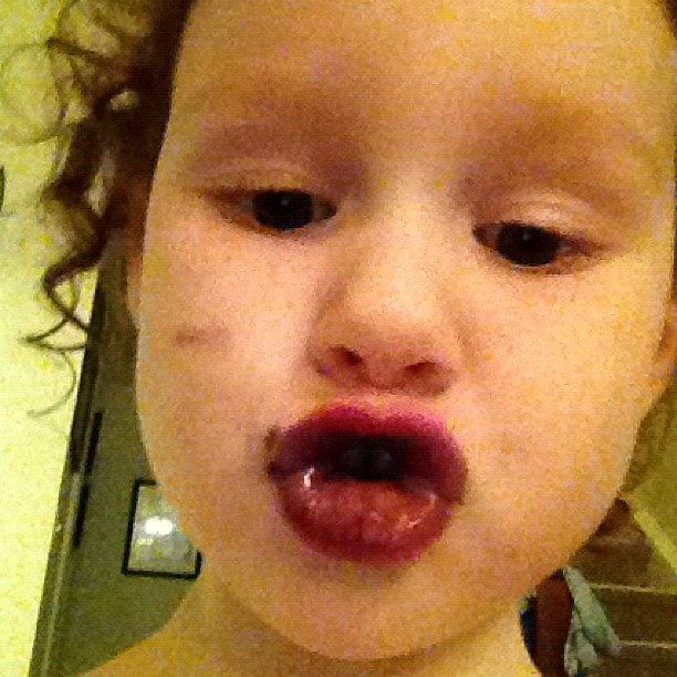 She steals my phone and does ducklips with blueberries. I always new the middle child was trouble.