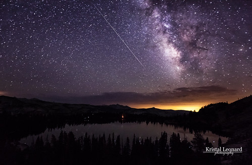 Perseid meteor & Milky Way over May Lake, Yosemite